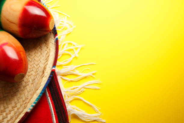 mexican themed powerpoint template - sombrero and a mexican blanket on bright yellow background