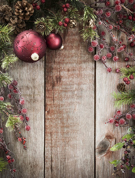 Christmas Holiday Wreath Garland Background On Old Rustic Wood
